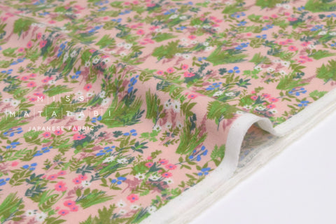 Japanese Fabric Flannel Floral - pink, green - 50cm