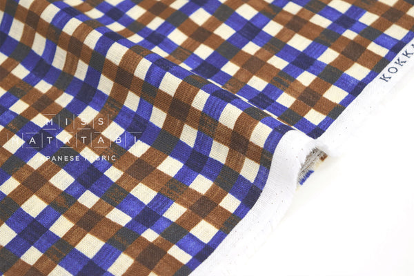 Japanese Fabric Kokka Check Check Check - blue, brown - 50cm