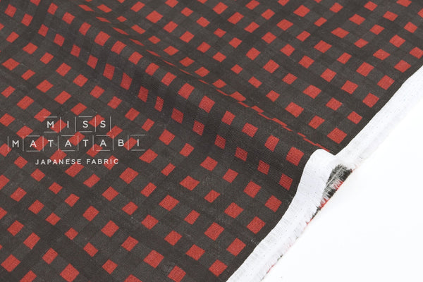 Japanese Fabric Kokka Check Check Check - rust, chocolate - 50cm