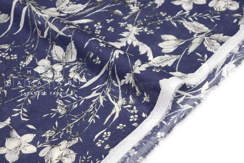 Japanese Fabric Wild Floral Cotton Lawn - navy blue - 50cm