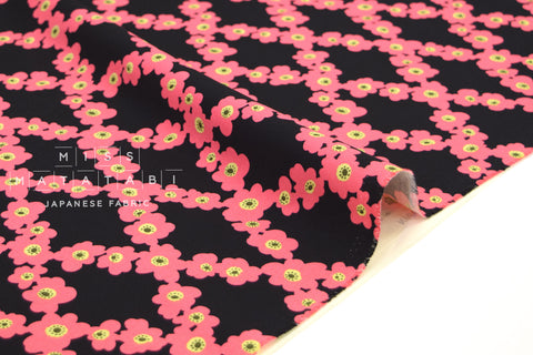 Japanese Fabric Flower Vines canvas - black, pink -  50cm