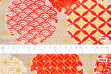 Japanese Fabric Komon dobby - taupe, orange red, metallic gold - 50cm