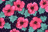 Japanese Fabric Bold Floral and Polka Dots dobby - pink, green, black - 50cm