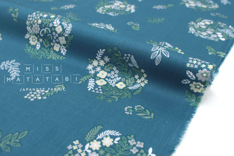 Japanese Floral Wreath cotton lawn - teal blue  - 50cm