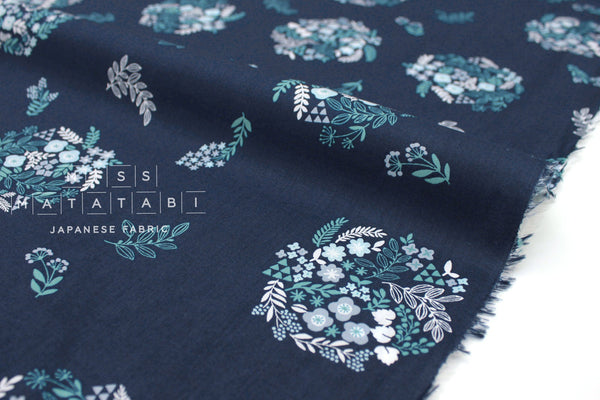 Japanese Floral Wreath cotton lawn - navy blue  - 50cm