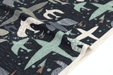 Japanese Fabric Birds - dark navy blue - 50cm