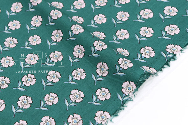 Japanese Fabric Floral Tiles cotton lawn - green - 50cm