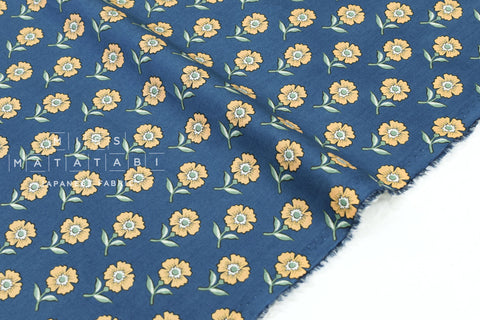 Japanese Fabric Floral Tiles cotton lawn - blue - 50cm