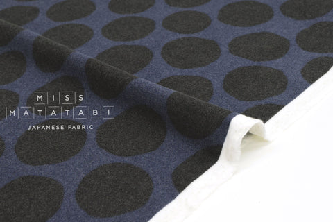 Japanese Fabric Flannel Dots - navy - 50cm