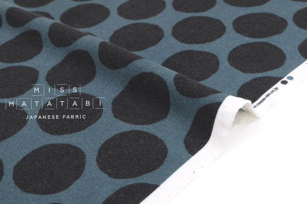 Japanese Fabric Flannel Dots - teal blue - 50cm