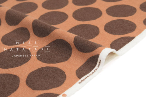 Japanese Fabric Flannel Dots - orange - 50cm