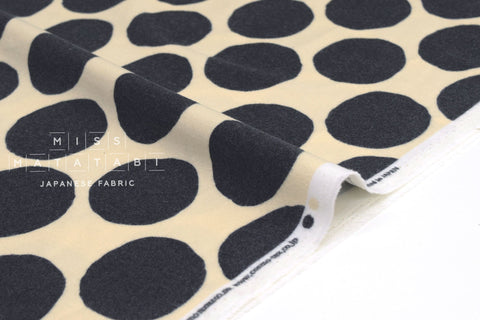 Japanese Fabric Flannel Dots - cream, black - 50cm