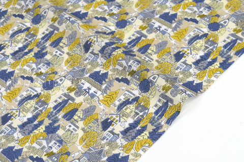 Japanese Fabric Bunny Town cotton lawn - blue, grey, mustard - 50cm
