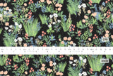 Japanese Fabric Flannel Floral - black, green - 50cm