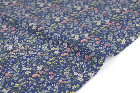 Japanese Fabric Delicate Floral cotton lawn - blue - 50cm