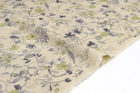 Japanese Fabric Winter Blooms - grey, green - 50cm