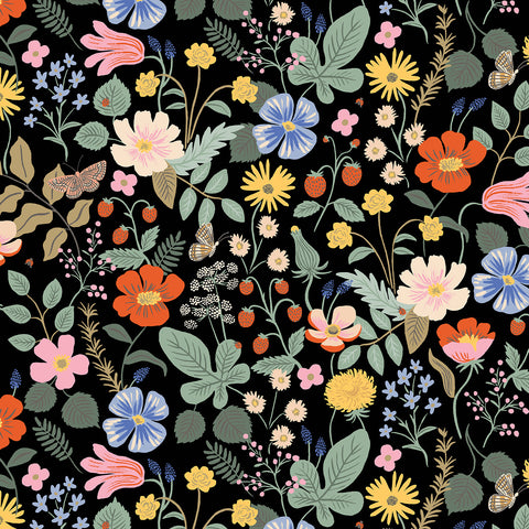 Cotton + Steel Rifle Paper Co. Strawberry Fields - Strawberry Fields - black - fat quarter
