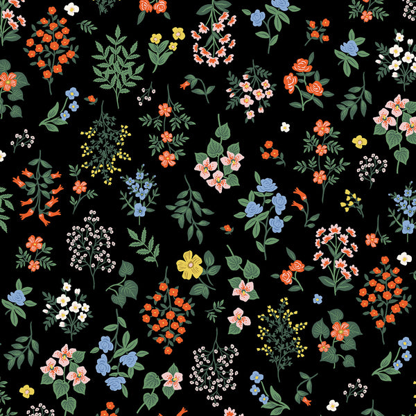 Cotton + Steel Rifle Paper Co. Strawberry Fields - Hawthorne - black - fat quarter