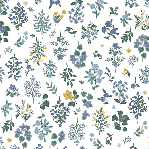 Cotton + Steel Rifle Paper Co. Strawberry Fields - Hawthorne - periwinkle - 50cm