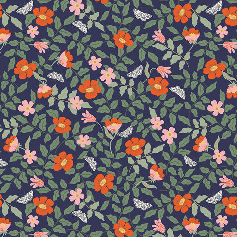 Cotton + Steel Rifle Paper Co. Strawberry Fields - Primrose - navy - fat quarter