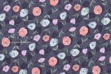 Japanese Fabric Storybook Floral cotton lawn - grape grey - 50cm