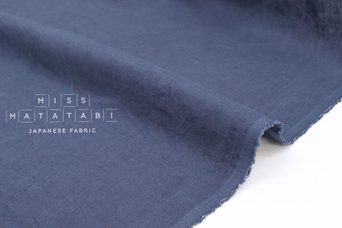 Japanese Fabric 100% washed linen - storm blue -  50cm