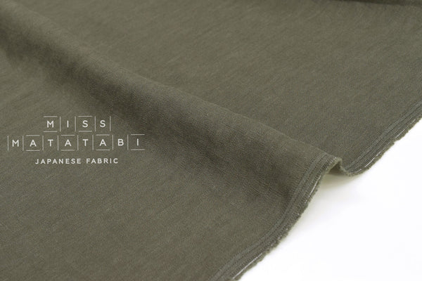Japanese Fabric 100% washed linen - olive green -  50cm