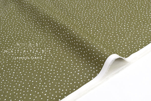 Japanese Fabric Soft Snow Dots - olive - 50cm