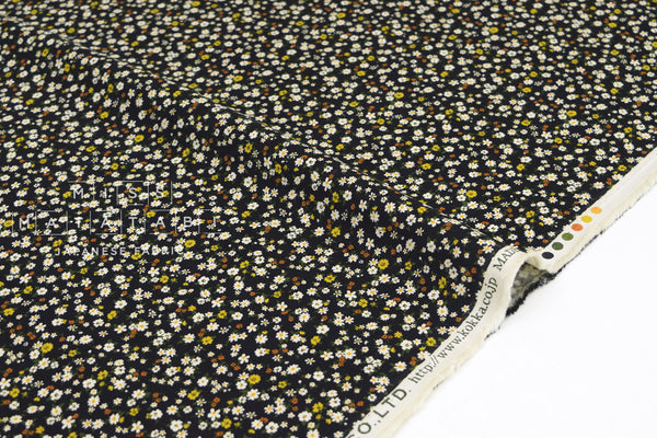 Japanese Fabric Corduroy Dainty Floral - black - 50cm
