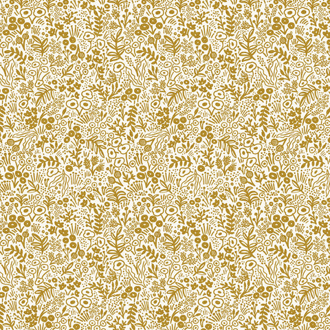 Cotton + Steel Rifle Paper Co. Basics - Tapestry Lace - gold metallic - fat quarter