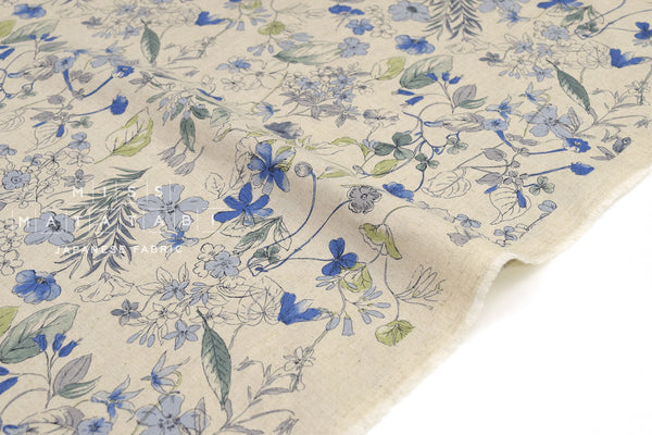 Japanese Fabric Winter Blooms - blue - 50cm