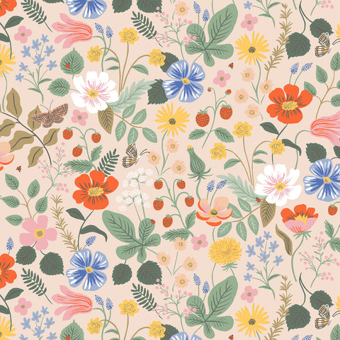 Cotton + Steel Rifle Paper Co. Strawberry Fields - Strawberry Fields - blush - 50cm