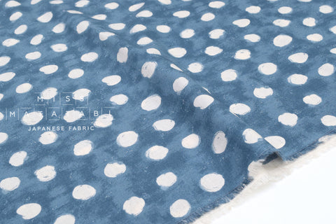 Japanese Fabric Painted Dots - blue - 50cm