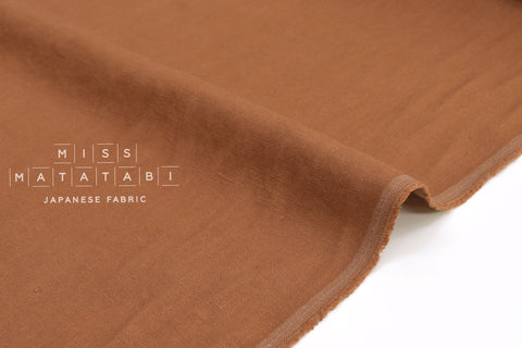 Japanese Fabric 100% washed linen - terracotta -  50cm