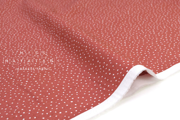 Japanese Fabric Soft Snow Dots - clay - 50cm