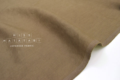 Japanese Fabric 100% washed linen - khaki green -  50cm