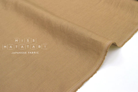 Japanese Fabric 100% washed linen - sandstone -  50cm