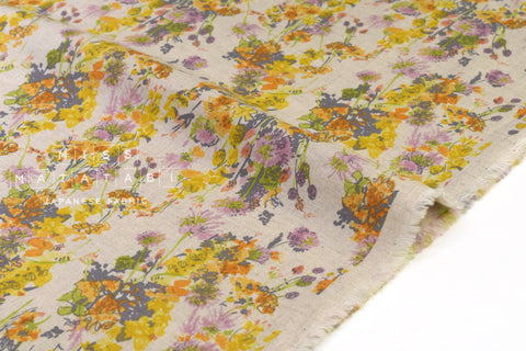 Japanese Fabric Mono Floral - yellow, orange - 50cm