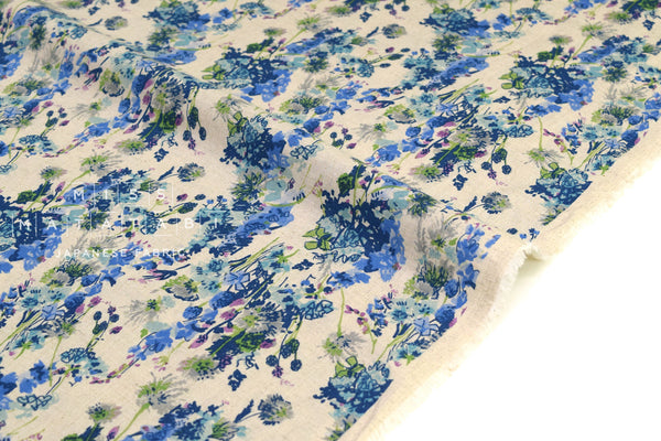 Japanese Fabric Mono Floral - blue - 50cm