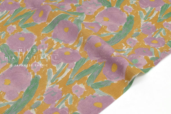 Japanese Fabric Blooming - mustard, pink - 50cm