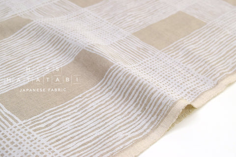Japanese Fabric 100% linen Drawn Plaid - white -  50cm