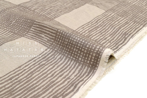 Japanese Fabric 100% linen Drawn Plaid - taupe -  50cm