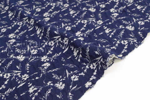 Japanese Fabric Yarn Dyed Jacquard Double Knit - navy, cream grey - 50cm