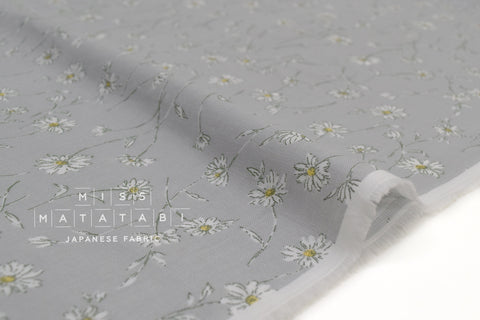 Japanese Fabric Daisies Double Gauze - grey - 50cm
