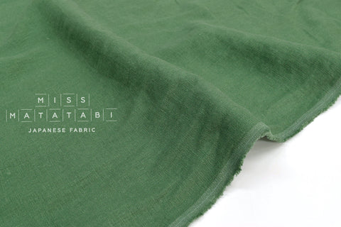 Japanese Fabric 100% washed linen - green -  50cm