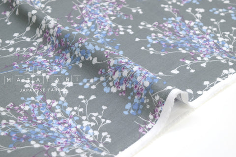 Japanese Fabric Floral Sprigs Double Gauze - grey - 50cm