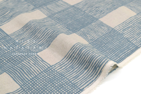 Japanese Fabric 100% linen Drawn Plaid - blue -  50cm