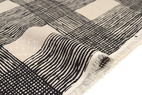 Japanese Fabric 100% linen Drawn Plaid - black -  50cm