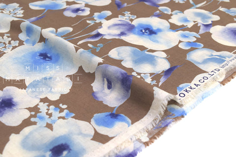Japanese Fabric Kokka Watercolor Floral Voile - mocha, blue - 50cm