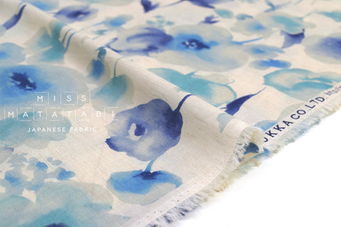 Japanese Fabric Kokka Watercolor Floral Voile - blue - 50cm